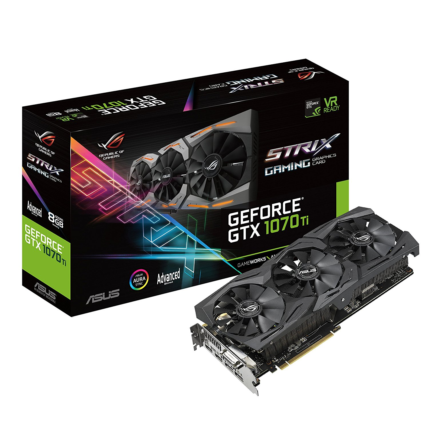 ASUS ROG GeForce GTX 1070 Ti STRIX-GTX1070TI-A8G-GAMING 8GB 256-Bit GDDR5